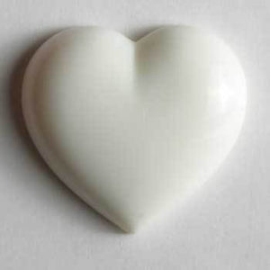 White Heart Novelty Button