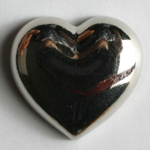 Silver Heart Novelty Button