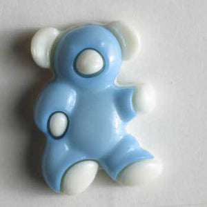 Blue Teddy Bear Novelty Button