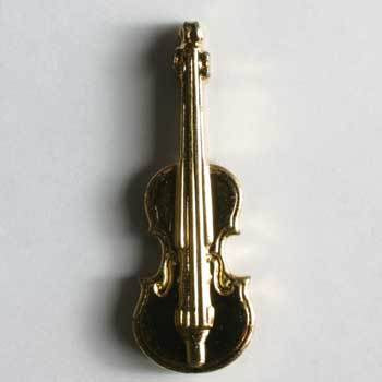 Gold Plated Violin Novelty Button Charm