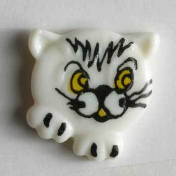 White Cat Novelty Button