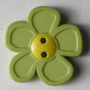 Green Flower Novelty Button