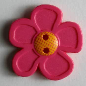Pink Flower Novelty Button
