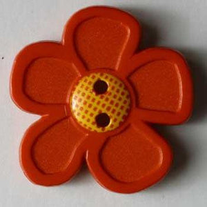 Red Flower Novelty Button