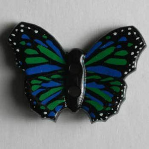 Blue and Green Butterfly Novelty Button