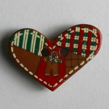 Patchwork Heart Novelty Button