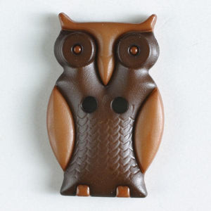 Owl Beige Novelty Button