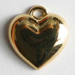 Gold Plated Heart Polyamide Button