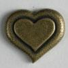 Heart Shaped Antique Brass Full Metal Button