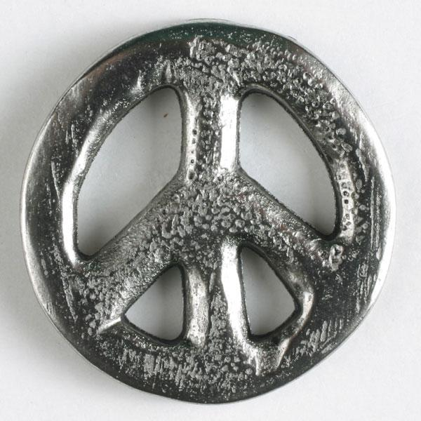 Peace Sign Antique Silver Full Metal Button