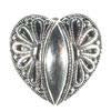 Heart Antique Silver Full Metal Button