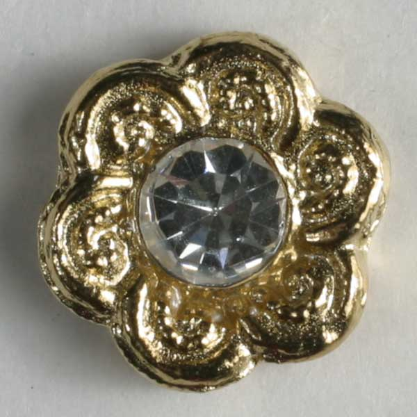 Gold Plated Polyamide Button With Rhinestone