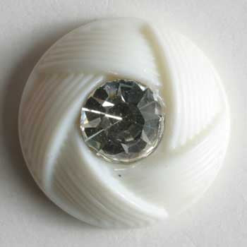 White Polyamide Button With Rhinestone