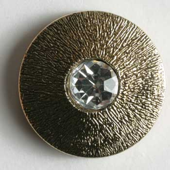 Antique Gold Plated Polyamide Button With Rhinestone