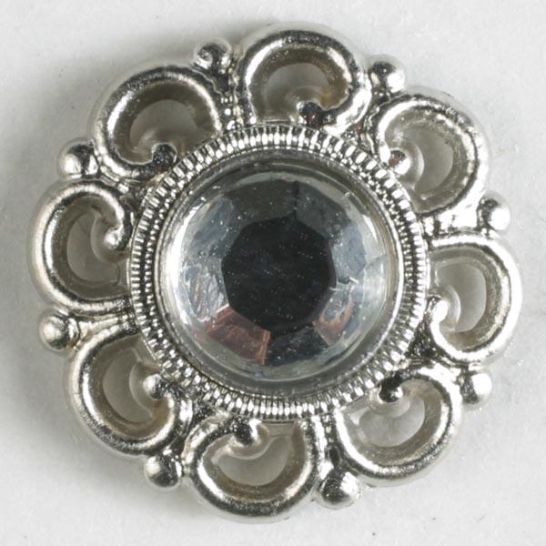 Silver Polyamide Button With Rhinestone