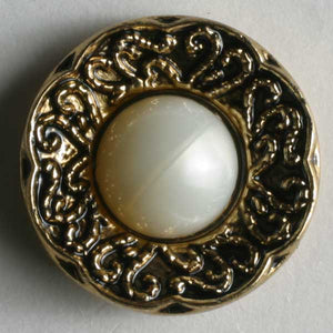 Antique Gold Plated Polyamide Pearl Button