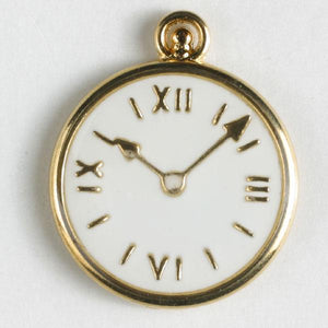 White Pocket Watch Full Metal Enamelled Button