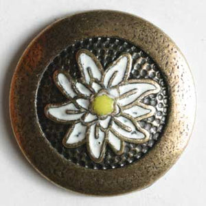 Antique Brass Full Metal Enamelled Button