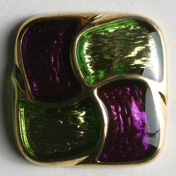 Green Full Metal Enamelled Button