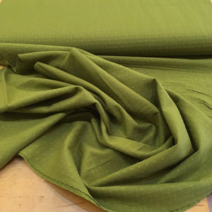 Diamond Textiles Cross Stitched Cotton Fabric Bright Green Olive 3147