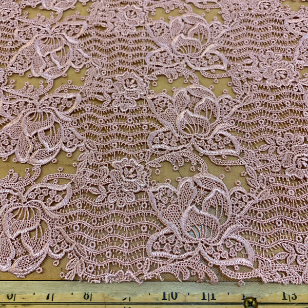 Embroidered Galloon French Lace - Dusty Rose