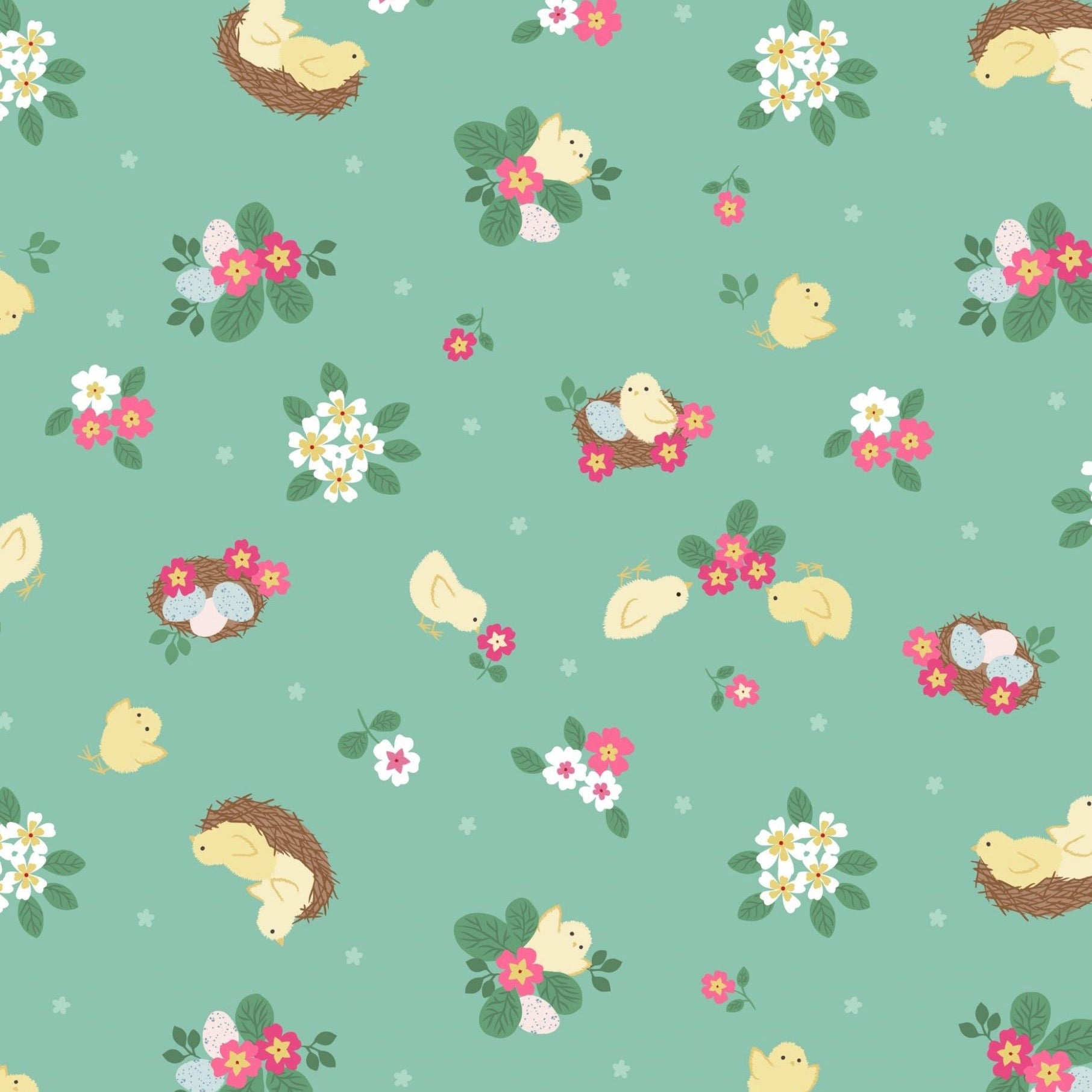 Bunny Hop Chicks Cotton Fabric - Spring Green