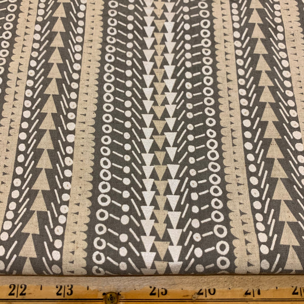 Triangles, Circles and Stripes Fabric Caravan by Yurtao Mid-Weight Cotton / Linen Blend - Grey