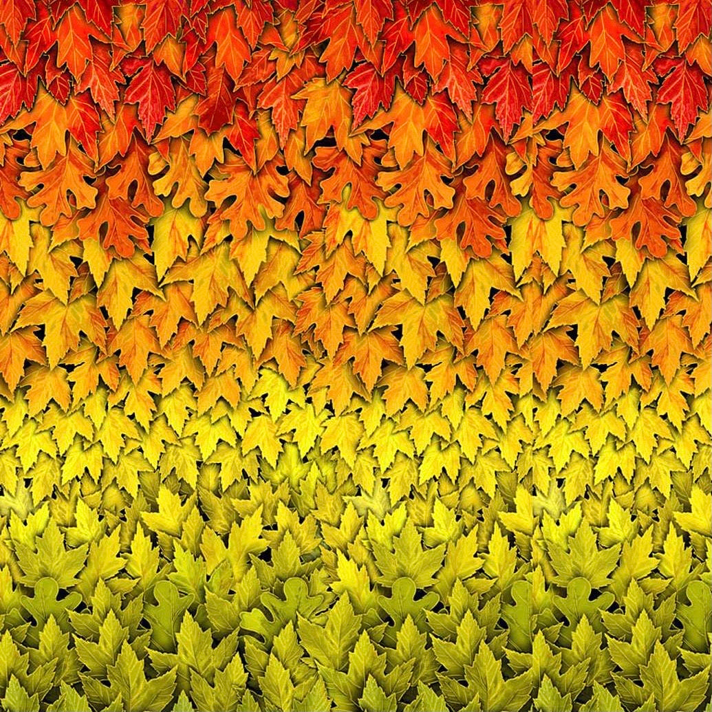 Metallic Ombre Harvest Leaves Cotton Fabric