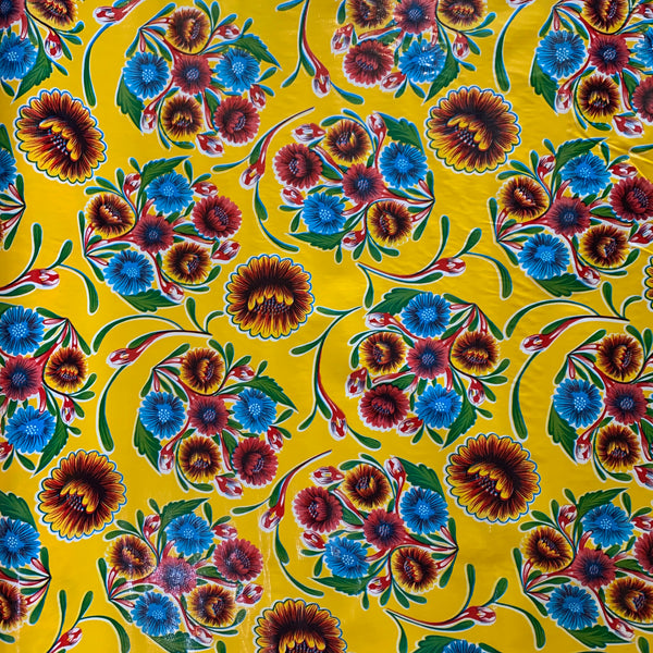 Bloom Oilcloth Fabric - Yellow