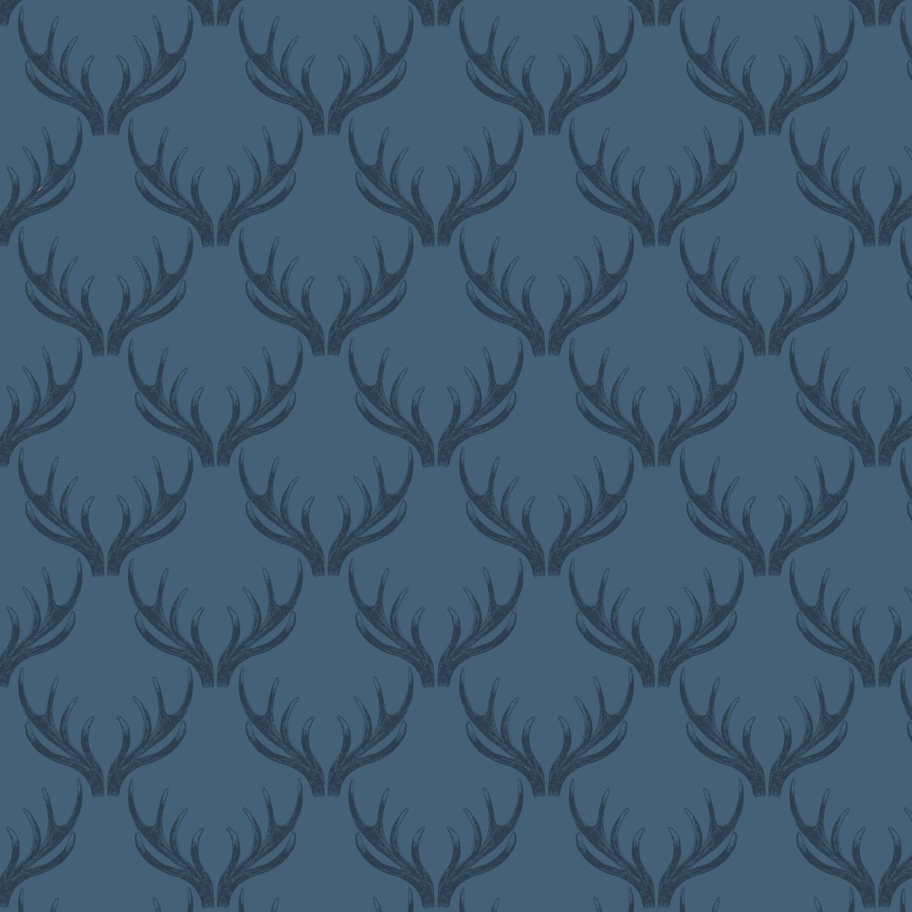 Loch Lewis Antlers Cotton Fabric - Blue
