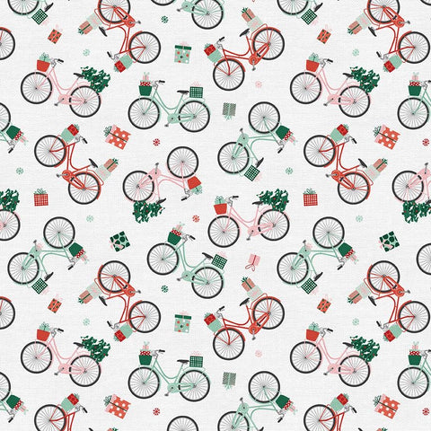 Home for Christmas Bikes Cotton Fabric - White