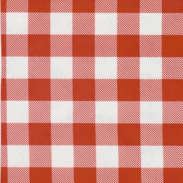 Picnic Check Oilcloth Fabric - Red