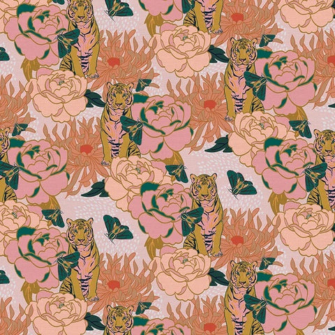 Tiger Lily Trail Cotton Fabric - Pink/Gold 120-21684