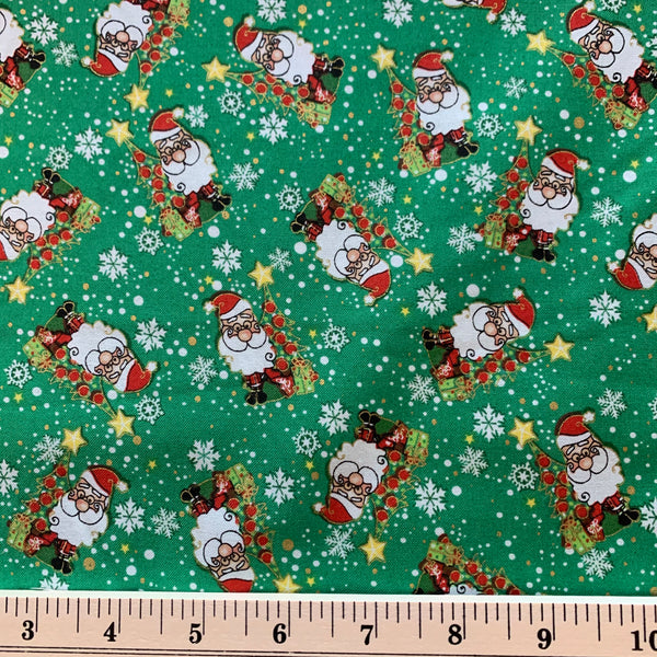 Jolly Santa Cotton Fabric - Green