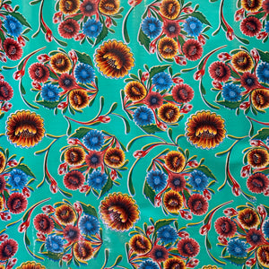 Bloom Oilcloth Fabric - Aqua