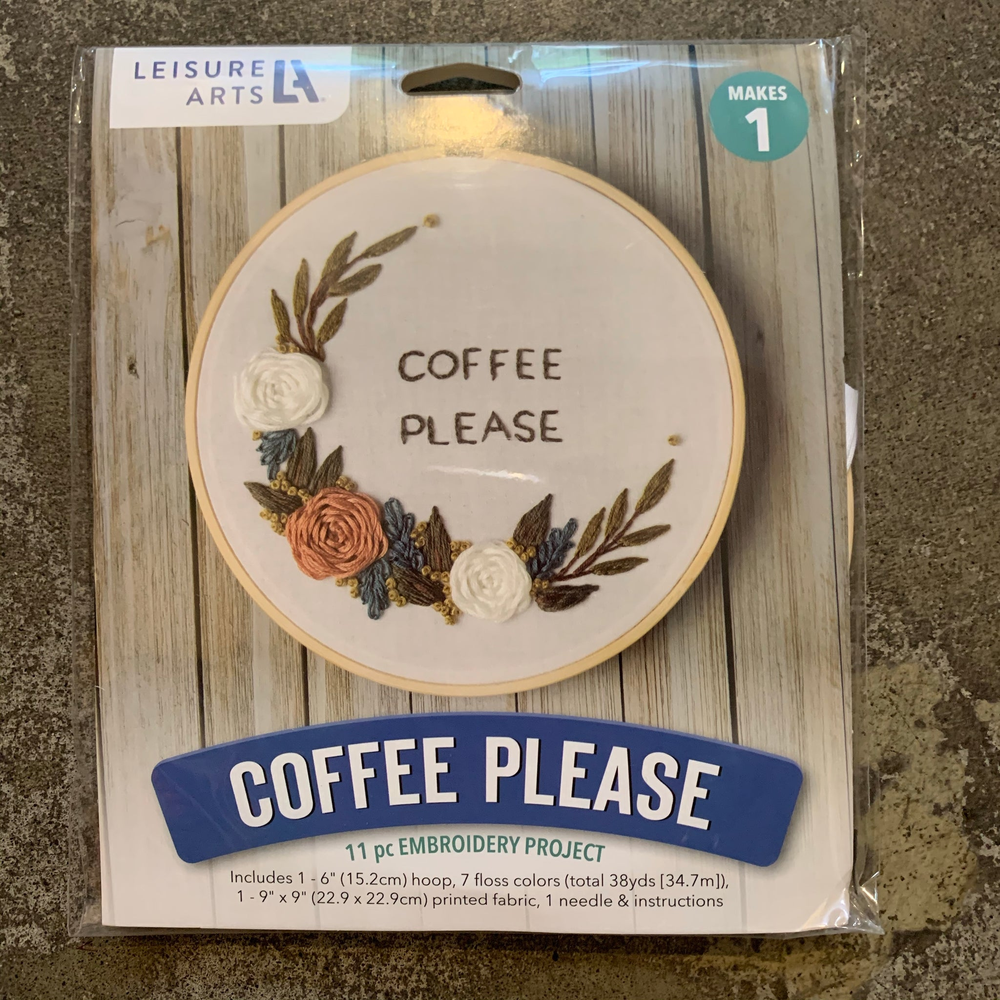 Coffee Please Embroidery Kit