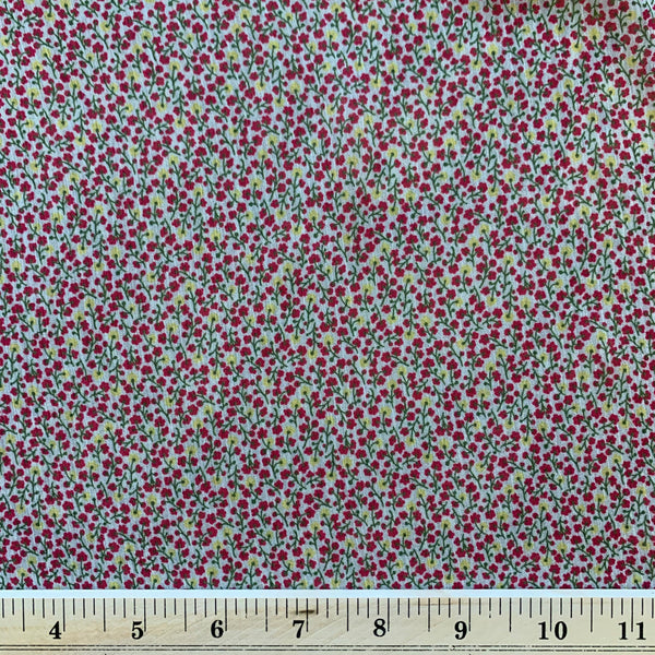 Tiny Pink and Yellow Floral Semi-Sheer Rayon Crepe Fabric