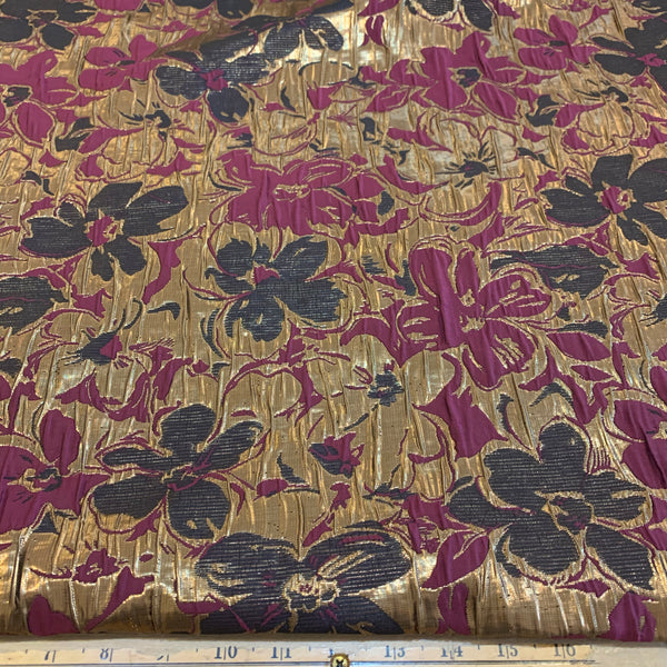 Floral Design Jacquard Polyester Metallic Fabric - Cranberry, Metallic Gold & Black
