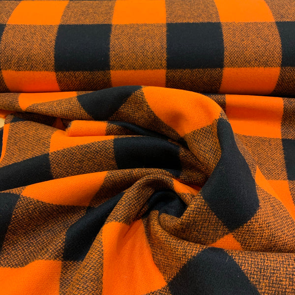 Wool Coating Orange & Black Buffalo Plaid