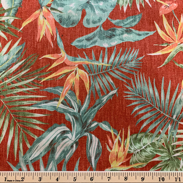 Heliconia and Bird of Paradise Hawaiian Print Cotton Sheeting Fabric - Red