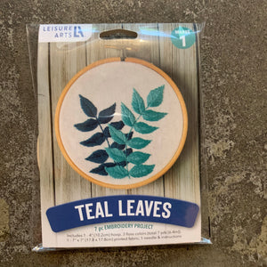 Teal Leaves Embroidery Kit