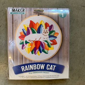 Rainbow Cat Embroidery Kit