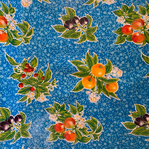 Summer Fruit Oilcloth Fabric - Blue