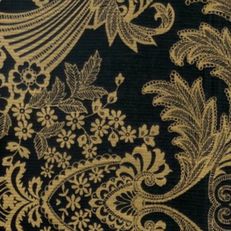 Paradise Lace Oilcloth - Black and Gold