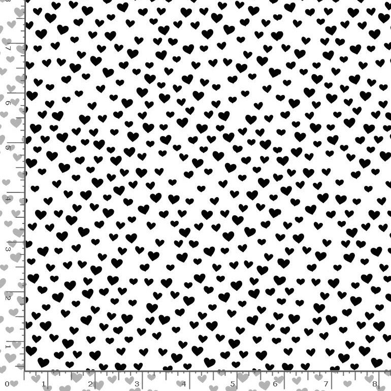Black and White Cute Little Hearts Cotton Fabric