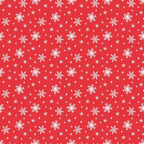 Gnome Noel Snow Flakes Cotton Fabric - Red