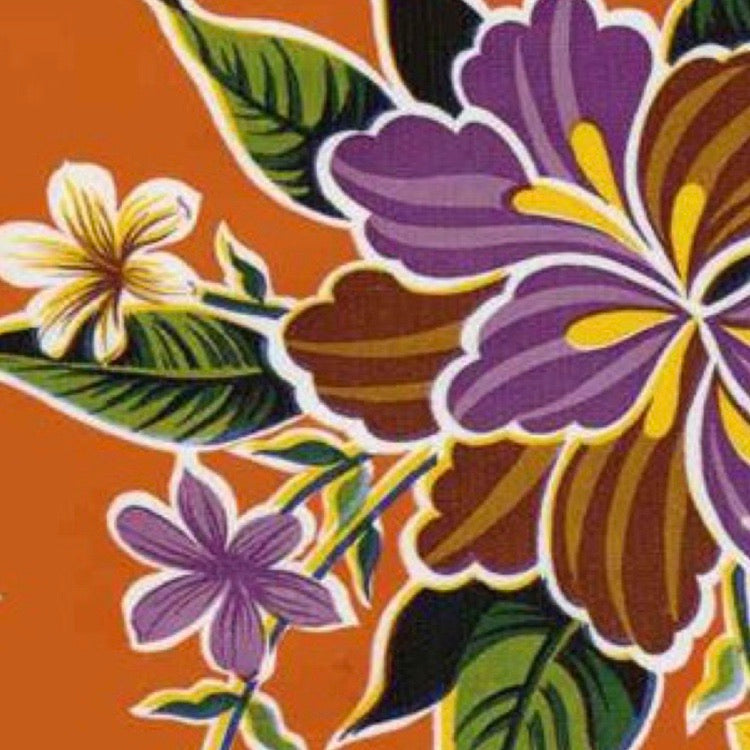 Hibiscus w/ Purple Flowers Oilcloth Fabric - Orange
