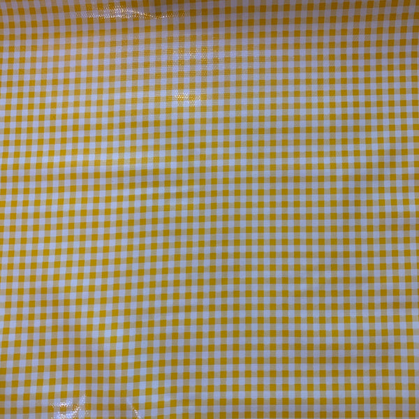 Gingham Oilcloth Fabric - Yellow