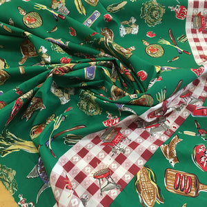 Vintage BBQ Picnic Border Print Cotton Fabric