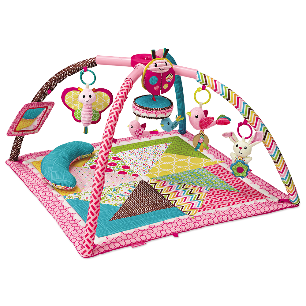 deluxe twist fold activity gym play mat pink